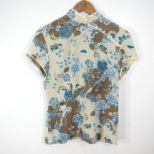 Kenzie 100% Silk Traditional Chinese T-Shirt Size 6 Floral
